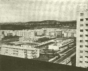 Blick vom Punkthochaus in Giebel, Bild aus dem Archiv des Weilimdorfer Heimatkreis