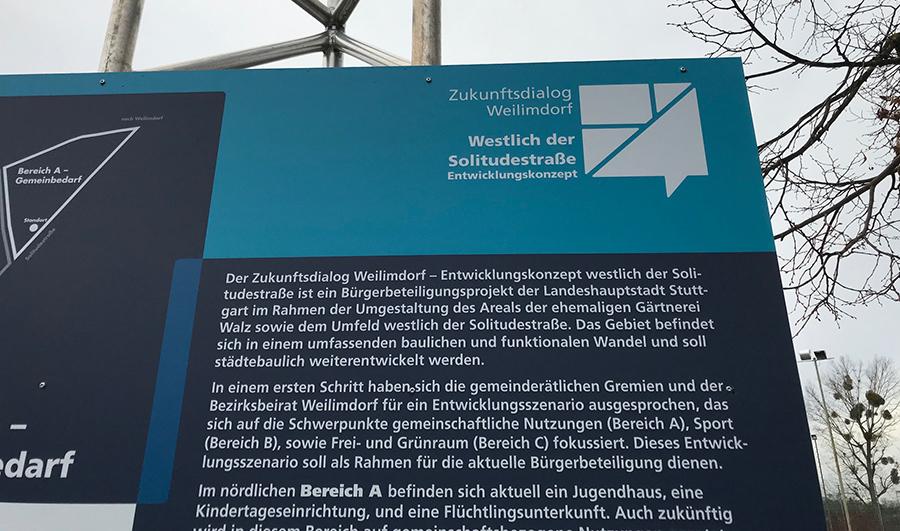 "Foto Hinweistafel ""Walzareal"" Entwicklung Bürgerbeteiligung"