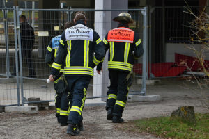 Feuerwehreinsatz am Solitude-Gymnasium. Foto: Andreas Rometsch