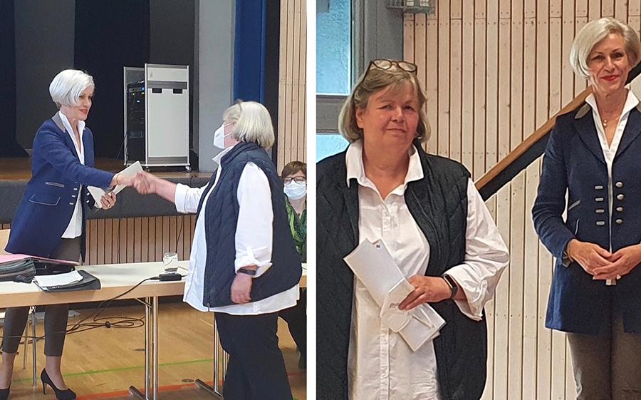 In der Sitzung des Bezirksbeirates am 9. Juni 2021 bekam Karin Bierich-Schopmeyer in der Lindenbachhalle die Ernennungsurkunde von Bezirksvorsteherin Ulrike Zich überreicht