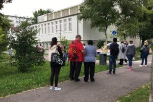 Impf-WalkIn in der Stephanuskirche im Giebel. Foto: Gramm